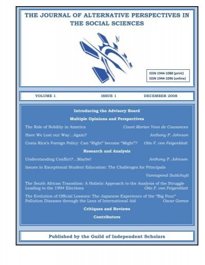 Japss Volume 1 Issue 1 Journal Of Alternative Perspectives In The