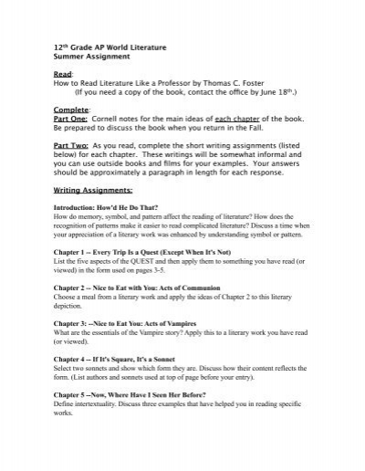 notes on how to read literature like a professor
