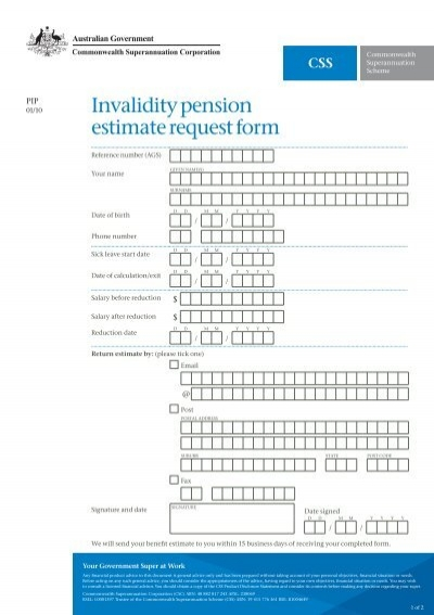 PipCss Invalidity Pension Estimate Request Form