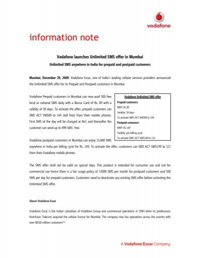 information note - Vodafone