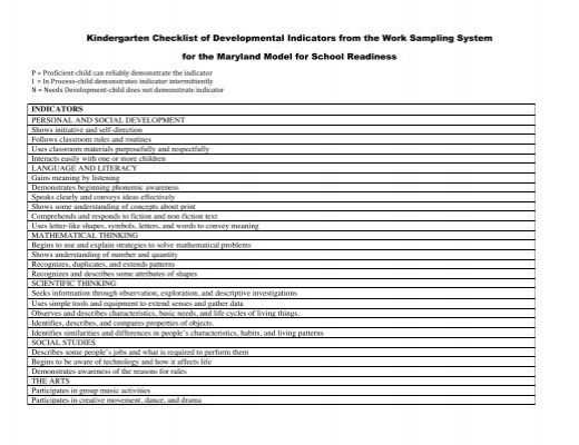 Kindergarten Checklist Of Developmental Indicators From The