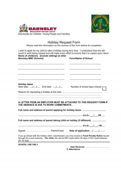 Holiday Request Form  Lacewood Primary School