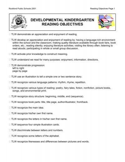 developmental kindergarten reading objectives - Rockford