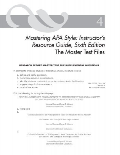 mastering apa style instructor s resource guide sixth edition the