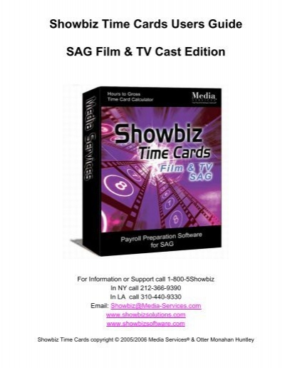 Showbiz Time Cards Users Guide Showbiz Software