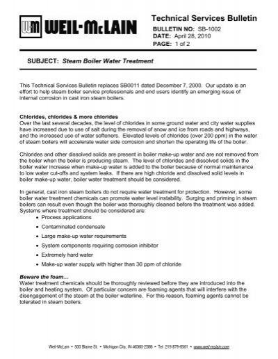 Steam Boiler Water Treatment - Weil-McLain
