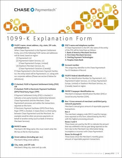 1099 K Explanation Form Chase Paymentech