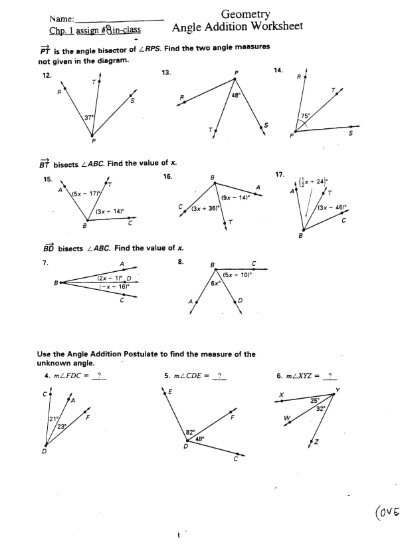 Worksheets Answers To Geometry Worksheets angle addition practice worksheet answers intrepidpath geometry worksheet
