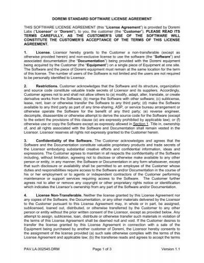 Doremi Labs Standard Software License Agreement