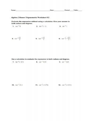 algebra 2 honors trigonometric worksheet 12. Black Bedroom Furniture Sets. Home Design Ideas