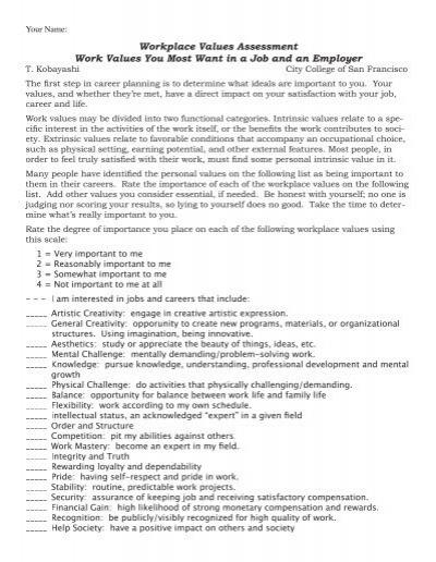 Personal Values Clarification Worksheet