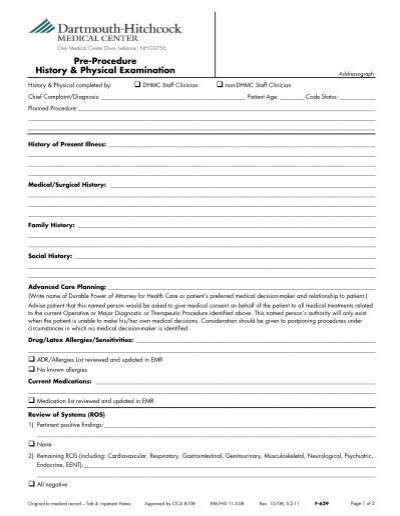 The Medical History and Physical Exam Form - The Citadel