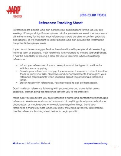 Tracking Sheet Your References Aarp Worksearch
