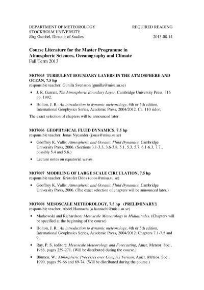 Course literature masters courses department of meteorology fandeluxe Choice Image