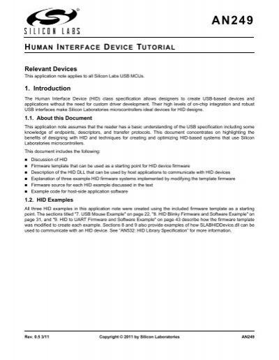 HUMAN INTERFACE DEVICE TUTORIAL - Silicon Laboratories Inc