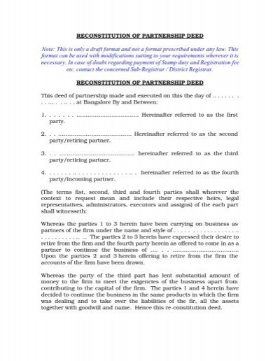Reconstitution of partnership deed thecheapjerseys