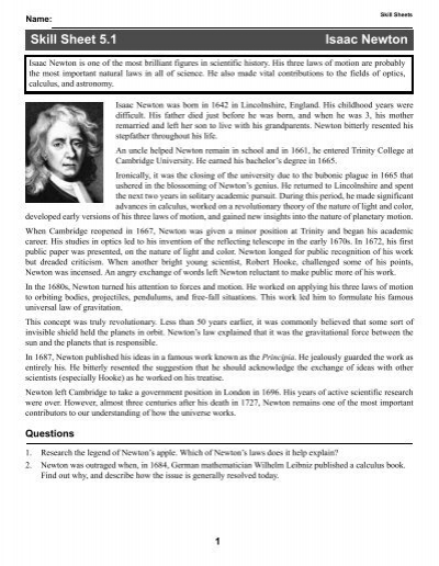 Printables Cpo Science Worksheets skill and practice worksheets cpo science sheet 5 1 isaac newton science
