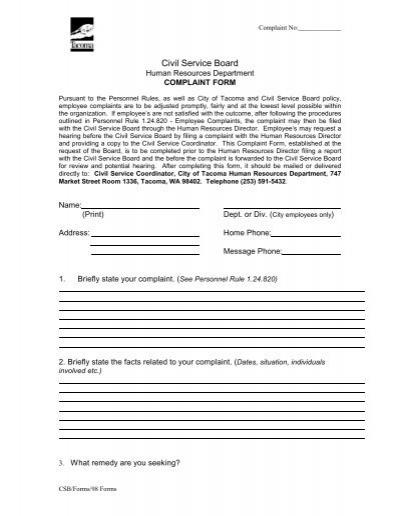 Prisoner Complaint PackageInstructions and Forms for Filing a – Civil Complaint Form