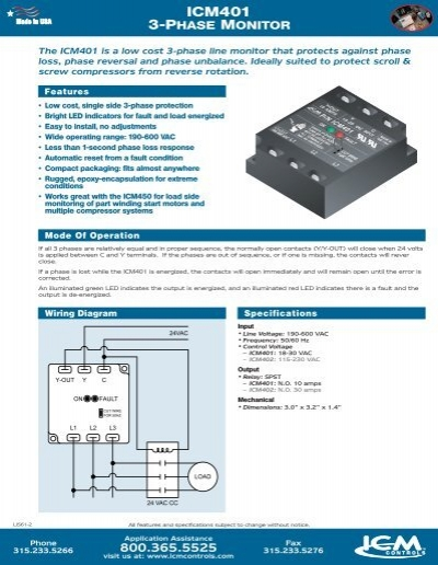 icm401 3 phase monitor icm controls. Black Bedroom Furniture Sets. Home Design Ideas