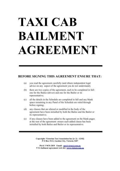 Taxi Cab Bailment Agreement The Victorian Taxi Association