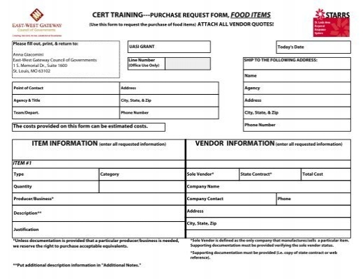 Cert TrainingPurchase Request Form Food Items