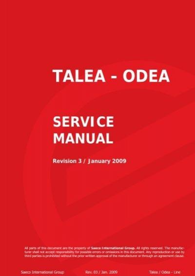 talea odea service manual rh yumpu com service manual saeco talea giro saeco talea service manual pdf