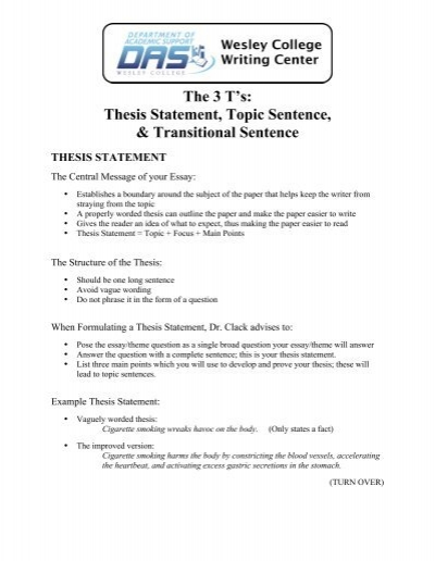 good thesis statements list