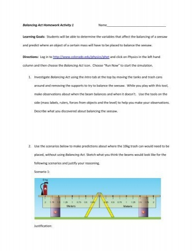 Balancing Act Homework Activity 1 ... - PhET
