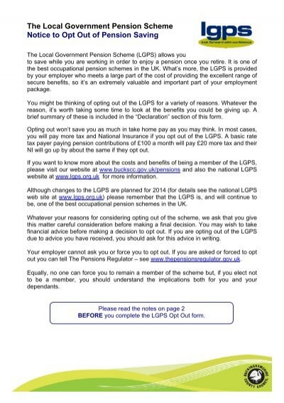 LGPS Opt Out Forms
