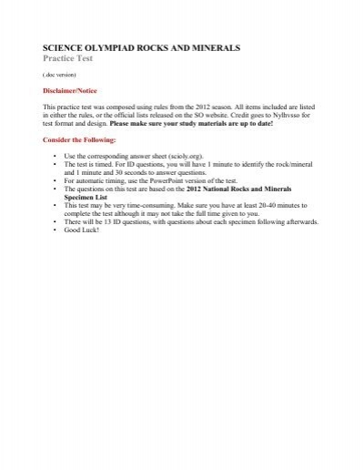 Science Olympiad Rocks And Minerals Practice Test