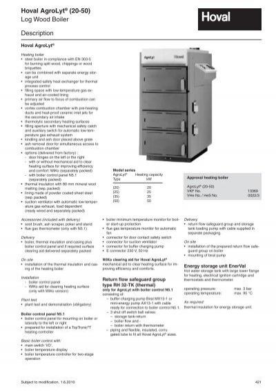 Description Log Wood Boiler Hoval AgroLyt® (20-50)