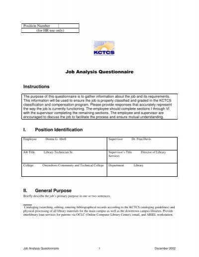 Job Analysis Questionnaire of Library Staff - Owensboro Community ...