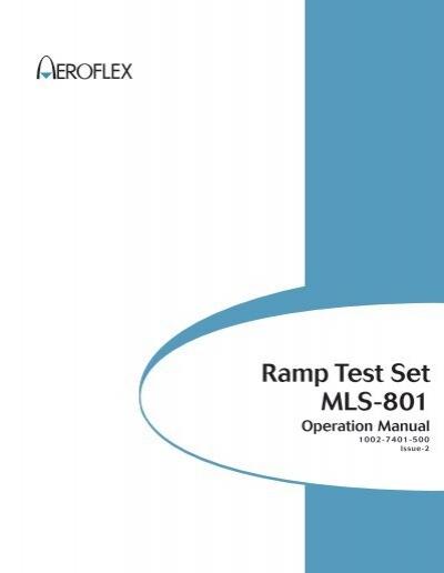 ramp test set mls 801 aeroflex. Black Bedroom Furniture Sets. Home Design Ideas