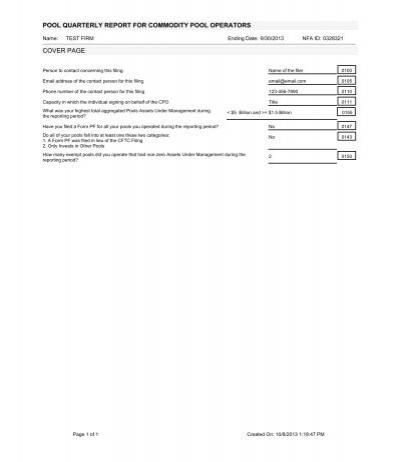 EasyFile CFTC Form PQR Template