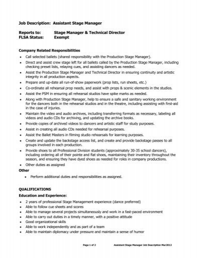 Company Manager Job Descriptiontechnical Director Job Description