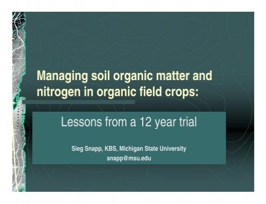 Managing soil organic matter and nitrogen in organic field for Soil organic matter pdf