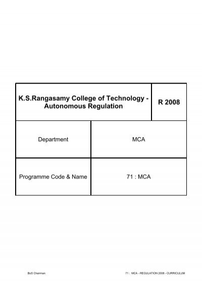 Autonomous Regulation R 2008 - KSR College of Technology
