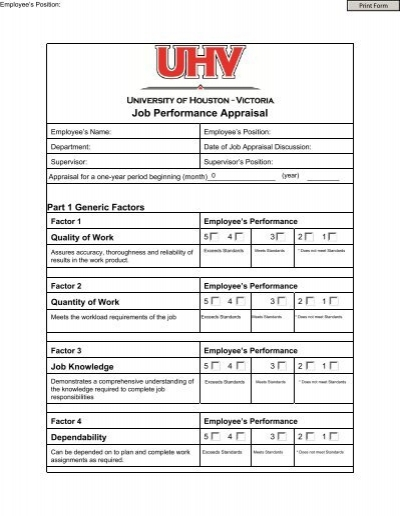 Administrative Staff Performance Appraisal Form  Office Of Human