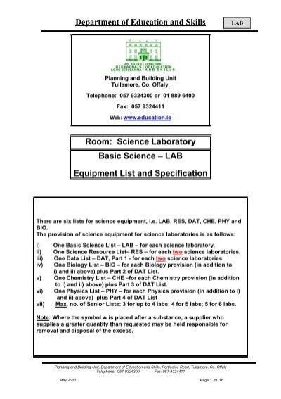 Room Science Laboratory Basic Science Lab Equipment List