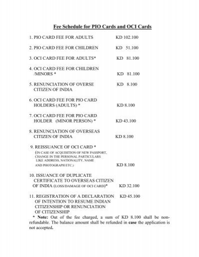 Fee Schedule for PIO Cards and OCI Cards - Embassy of India ...