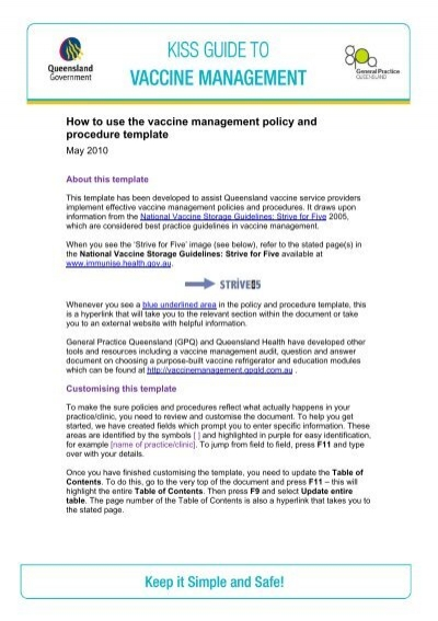 vaccine management policy and procedure template instructions