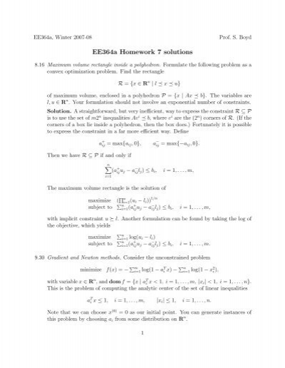 ee364 homework 7 solutions