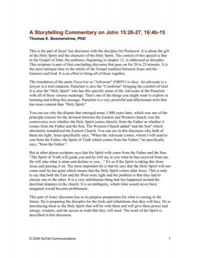 A Storytelling Commentary on John 15:26-27, 16:4b-15 - GoTell