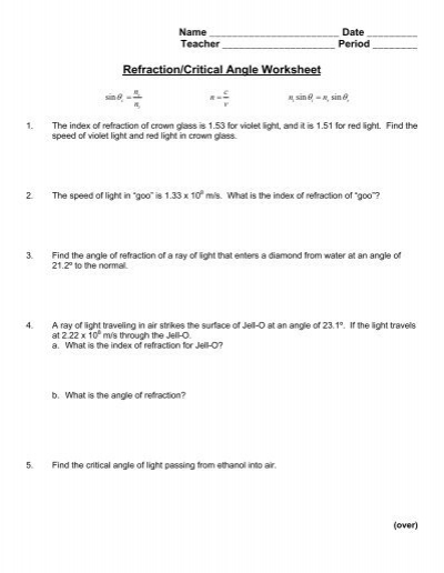 refraction critical angle worksheet. Black Bedroom Furniture Sets. Home Design Ideas