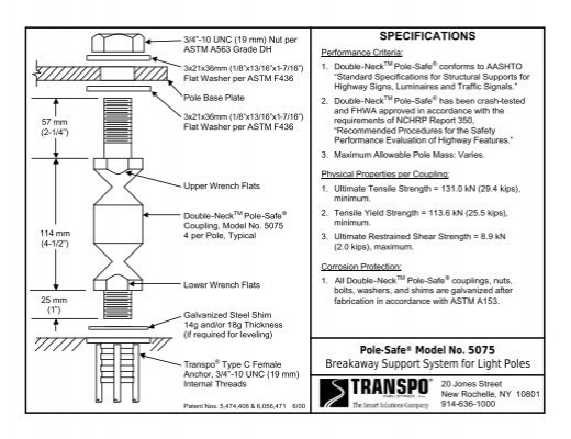 SPECIFICATIONS Pole-Safe® Model No  5075 Breakaway Support