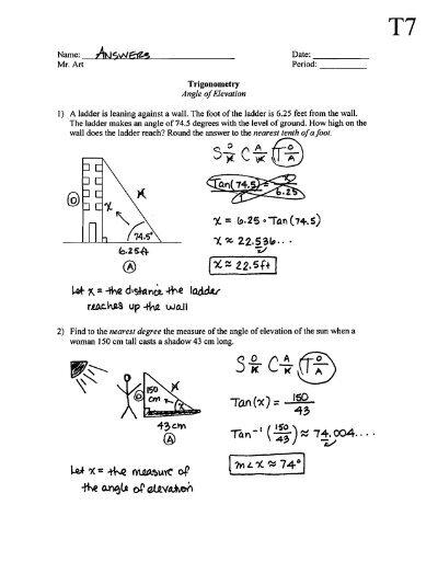 Trigonometry Angle Of Elevation Depression T7 Answers Pdf