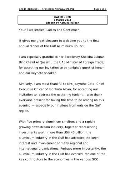 Your Excellencies, Ladies and Gentlemen - Gulf Aluminium Council