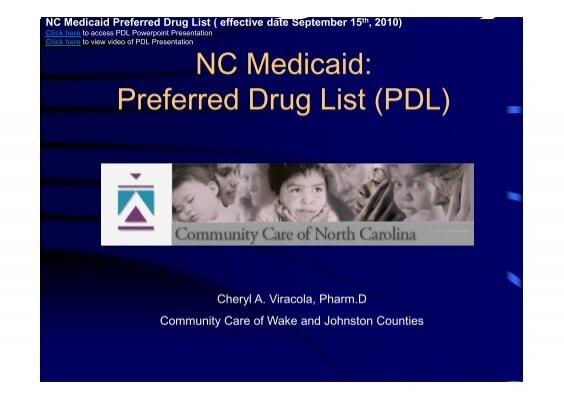 NC Medicaid: Preferred Drug List (PDL) - CCWJC