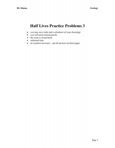 half life practice problems with answers