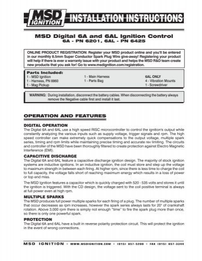 Msd 6201 digital 6a ignition control user manual | page 6 / 20.
